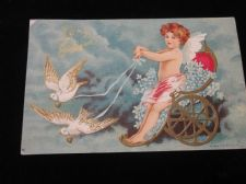 ANTIQUE VALENTINE POSTCARD POSTED NY USA 1 CENT STAMP 1907 CUPID CHARIOT SIGNED